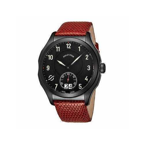 Philip Stein 17BSBKLZR Prestige Black Dial Men's Red Leather Quartz Watch