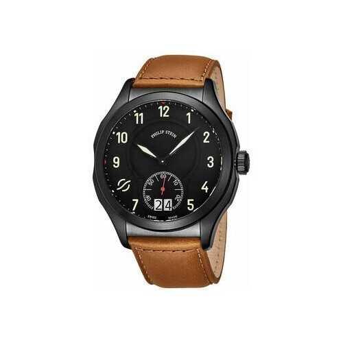 Philip Stein 17BSBKLCISCRP Prestige Black Dial Men's Beige Leather Quartz Watch