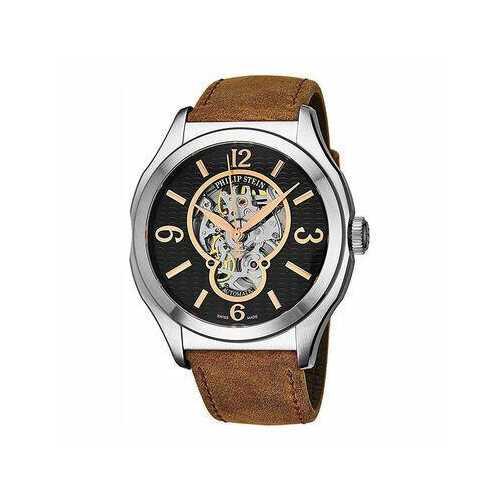 Philip Stein 17ASKFBCASSTBR Prestige Black Skeleton Dial Brown Leather Men's Automatic Watch