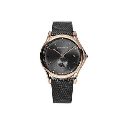 Emporio Armani ARS1003 Men's Gold Tone Black Leather Band Watch