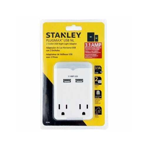 Stanley 2 Grounded Outlet USB Adapter 30386 PlugMax with 3.1AMP Fast Charging + LED Night Light