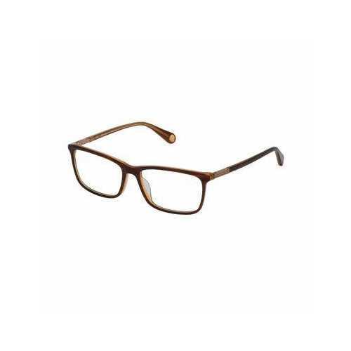 Carolina Herrera VHE785-0AAP Transparent Brown Honey Rectangular Unisex Acetate Eyeglasses