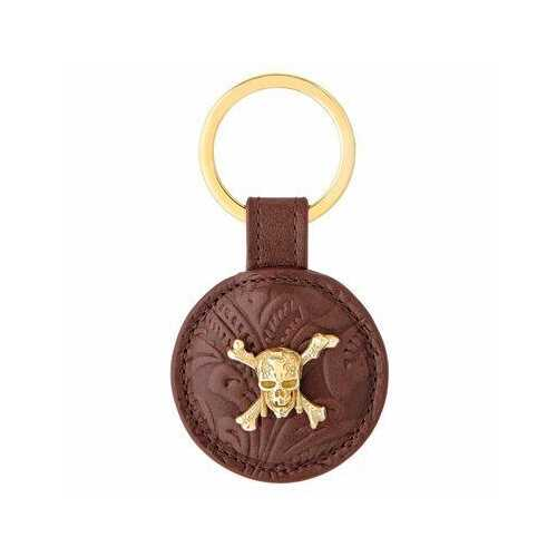 S.T. Dupont Pirates of the Caribbean Line D Embossed Brown Cowhide Leather Key Ring 003101PC