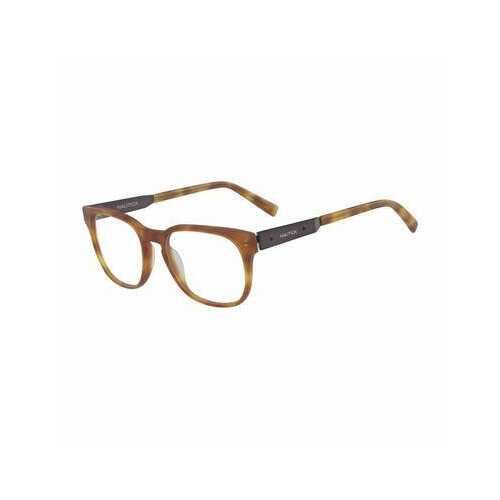 Nautica N8136-254 Matte Amber Tortoise Square Men's Plastic Eyeglasses