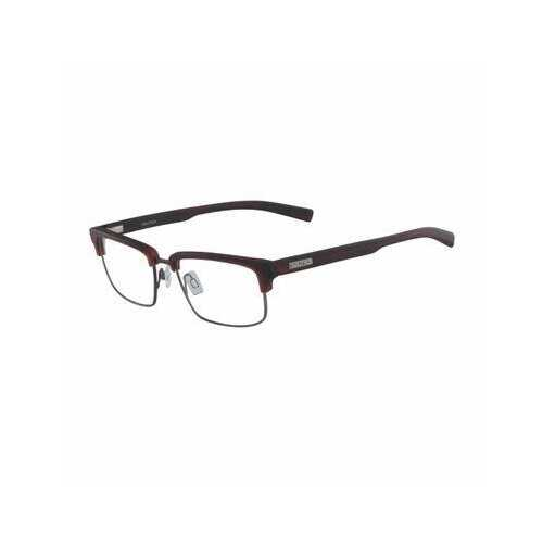 Nautica N8139-625 Matte Red Horn Rectangular Men's Metal Eyeglasses