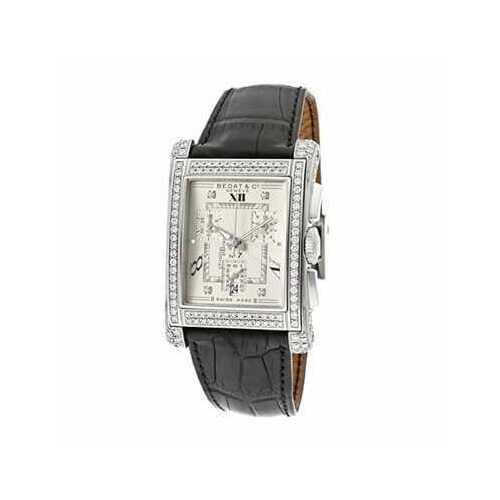 Bedat & Co. 778.050.109 No. 7 Silver Dial Diamond Bezel Black Leather Chronograph Watch