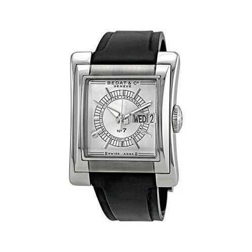 Bedat & Co. 797.010.620 No. 7 Silver Dial Men's Black Rubber Automatic Watch