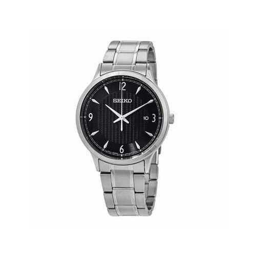Seiko SGEH81 Silver Stainless Steel Black Dial Men's Dress Quartz Watch