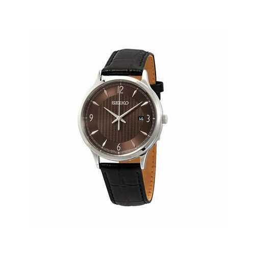 Seiko SGEH85 Black Leather Strap Brown Dial Men's Quartz Watch