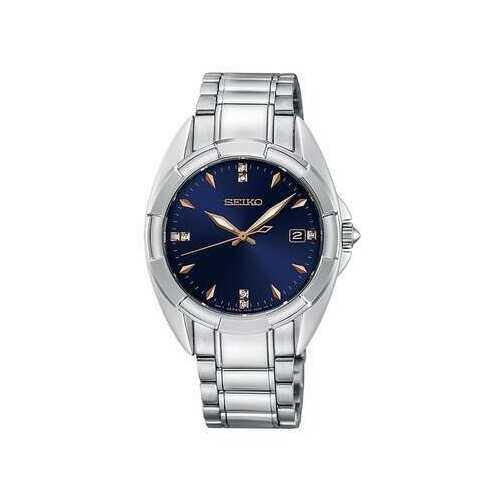 Seiko SKK889 Silver Stainless Diamond Accent Blue Dial Women's Watch