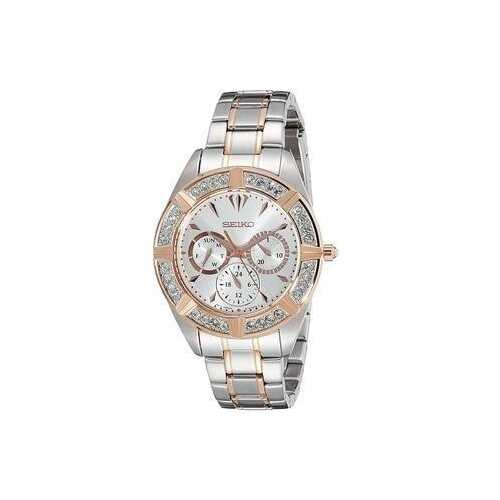 Seiko SKY678 Two Tone Crystal Accent Silver Dial Women's Mulit-Function Watch