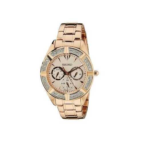 Seiko SKY680 Rose Gold Stainless Steel Crystal Accent Women's Multi-Function Watch
