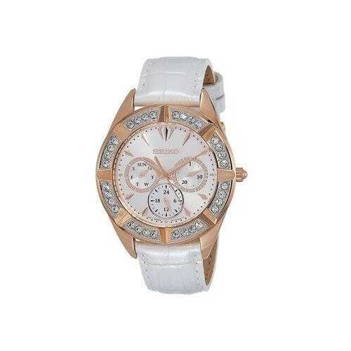 Seiko SKY682 Lord Crystal Accent White Dial Women's Multi-Function Leather Watch