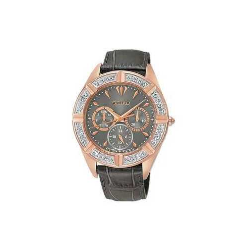 Seiko SKY684 Lord Grey Dial Swarovski Crystals Accent Women's Multi-Function Leather Watch