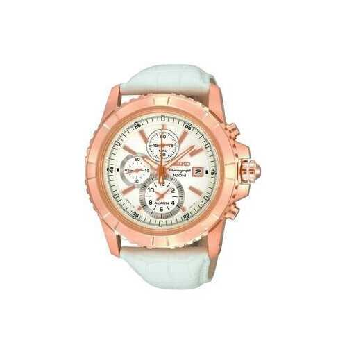 Seiko SNAE12 White Dial Rosegold Bezel Men's Chronograph Leather Watch