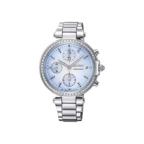 Seiko SNDV39 Crystal Accent Mother of Pearl Dial Women's Chronograph Watch