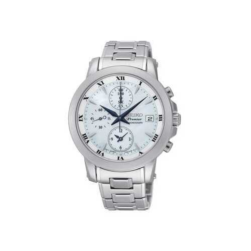 Seiko SNDV71 Premier Silver Stainless Steel White Dial Blue Hands Chronograph Watch