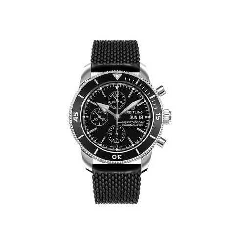 Breitling A13313121B1S1 Superocean Heritage II Black Dial Men's Rubber Chronograph Watch