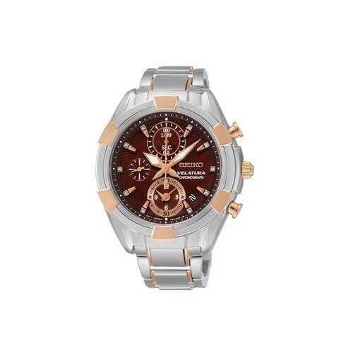 Seiko SNDW12 Velatura Two Tone Stainless Steel Brown Dial Women's Chronograph Watch