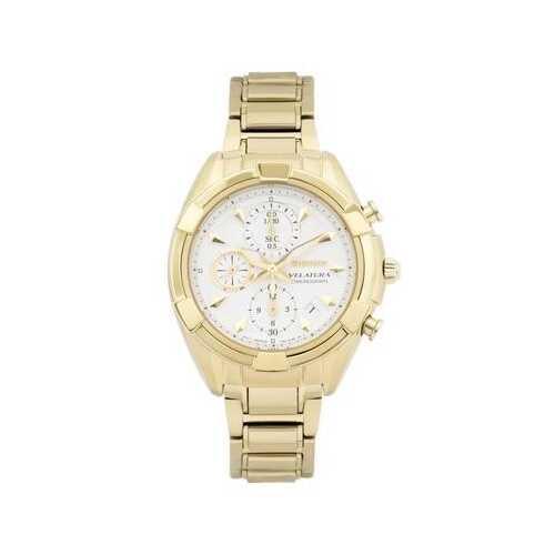 Seiko SNDW56 Velatura Gold Stainless Steel White Dial Women's Chronograph Watch