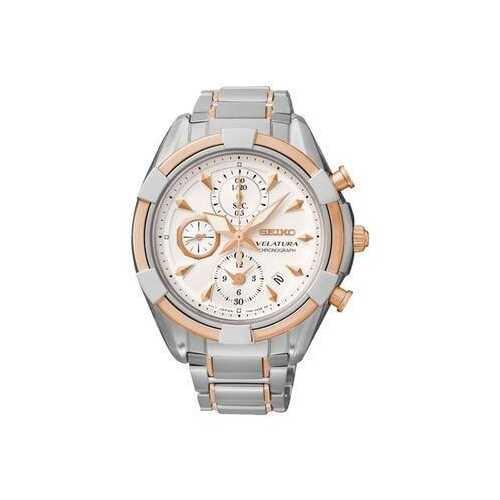 Seiko SNDW58 Velatura Two Tone Stainless Steel White Dial Women's Chronograph Watch