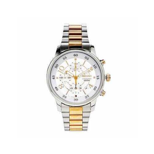 Seiko SNDW86 Matrix Two Tone Stainless Steel Silver Dial Men's Chronograph Watch