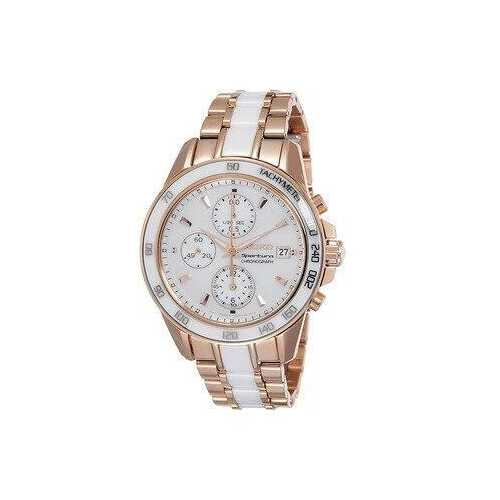 Seiko SNDW98 Sportura Gold Stainless White Ceramic Mother of Pearl Dial Chronograph Watch