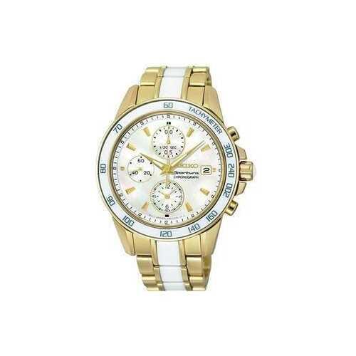 Seiko SNDX02 Sportura Gold Tone Stainless White Ceramic Mother of Pearl Dial Chronograph Watch