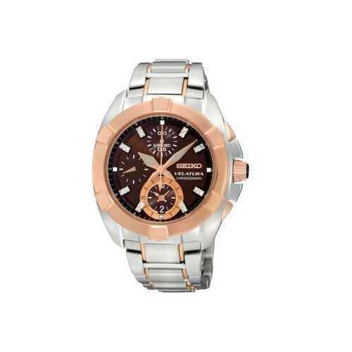 Seiko SNDZ20 Velatura Two Tone Stainless Steel Brown Diamond Dial Chronograph Watch