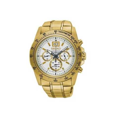 Seiko SPC244 Lord Gold Stainless Steel White Dial Men's Chronograph Watch
