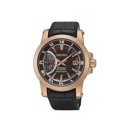 Seiko SRG016 Premier Brown Dial Men's Black Leather Kinetic Watch