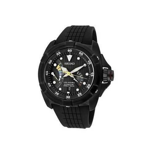 Seiko SRH013 Velatura Kinetic Direct Drive Black Dial Men's Rubber Watch