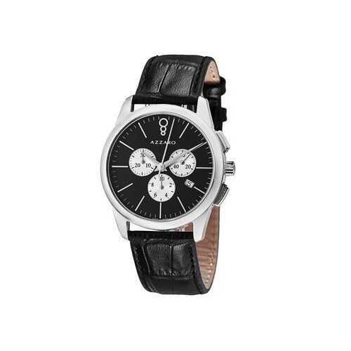 Azzaro AZ2040.13BB.000 Legend Black Dial Men's Black Leather Chronograph Watch