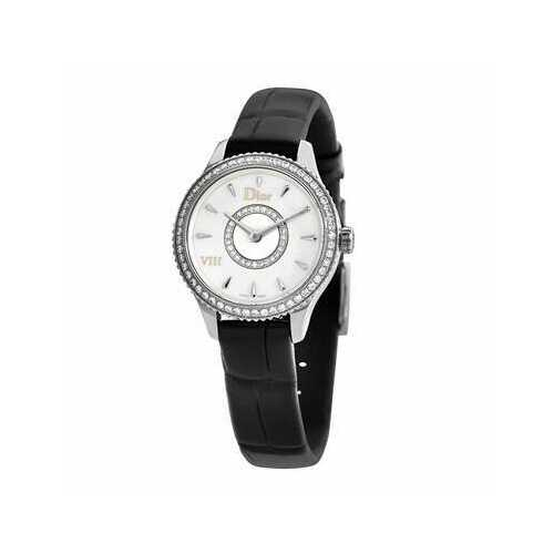 Dior CD151110A001 Montaigne Mother of Pearl Diamond Dial Black Leather Watch