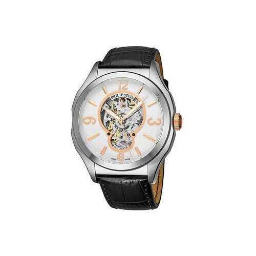 Philip Stein 17ASKFWCSTAN Prestige White Rosegold Dial Men's Black Leather Watch