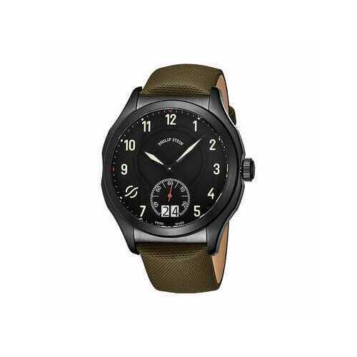 Philip Stein 17BSBKLTG Prestige Black Dial Men's Green Leather Quartz Watch