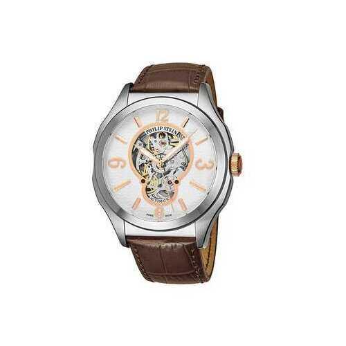 Philip Stein 17ASKFWCSTACH Prestige White Skeleton Dial Men's Brown Leather Watch