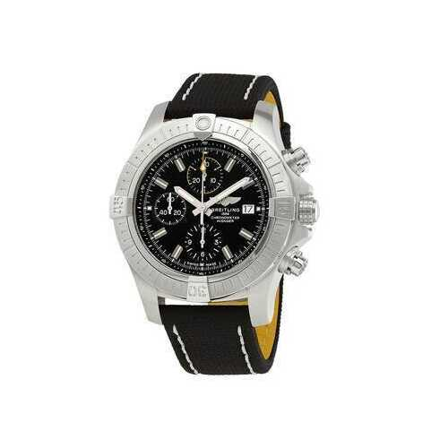 Breitling A13317101B1X1 Avenger Chronograph Black Dial Men's Military Leather Chronograph Watch