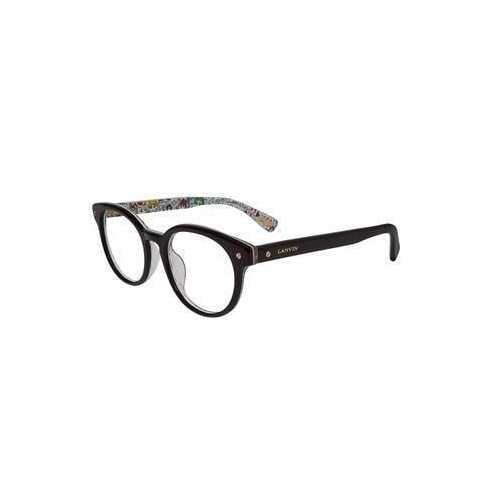 Lanvin VLN 679V-0APA Shiny Black Pattern Round Women's Acetate Eyeglasses