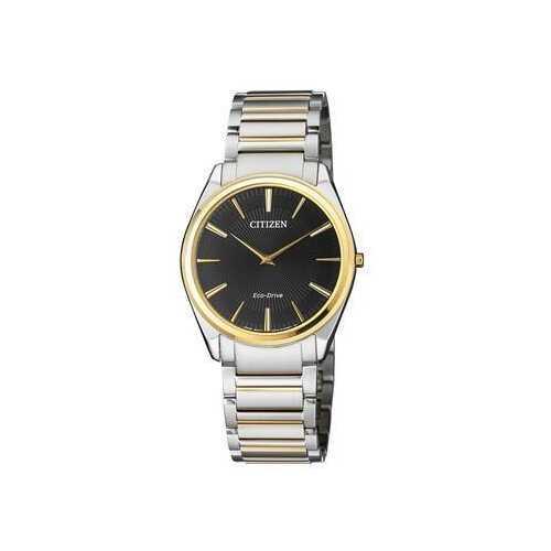 Citizen AR3078-88E Stiletto Silver Stainless Steel Black Dial Men's Eco-Drive Watch