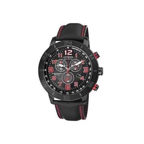 Citizen AT2225-03E Drive Black Dial Men's Chronograph Tachymeter Eco-Drive Leather Watch