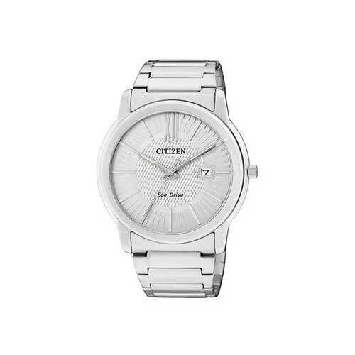 Citizen AW1210-58A Silver Stainless Steel White Textured Dial Men's Eco-Drive Watch