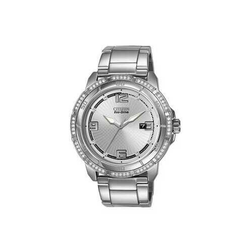 Citizen AW1340-52A Stainless Steel Silver Dial Crystals Accent Men's Eco-Drive Watch