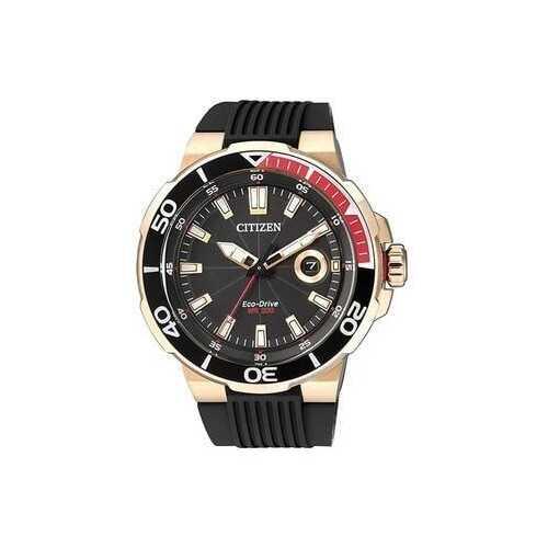 Citizen AW1422-09E Black Dial Men's Eco-Drive Diver's Rubber Watch