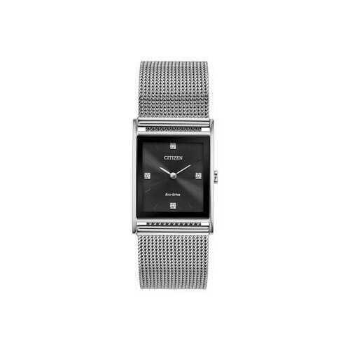 Citizen BL6000-55E Axiom Stainles Steel Black Dial Men's Rectangular Watch