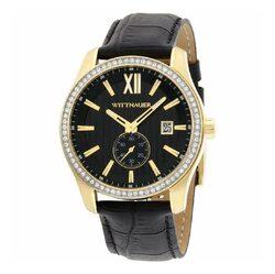 Category: Dropship Watches, SKU #6653727178937, Title: Wittnauer WN1011 Michael Black Leather Diamond Accented Bezel Men's Quartz Watch