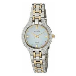 Category: Dropship Watches, SKU #6653750640825, Title: Seiko SUP335 Core Solar Two Tone Diamond Accent Mother of Pearl Dial Women's Watch