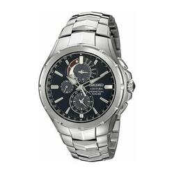 Category: Dropship Watches, SKU #6653755162809, Title: Seiko SSC375 Coutura Solar Perpetual Silver Stainless Steel Black Dial Men's Chronograph Watch