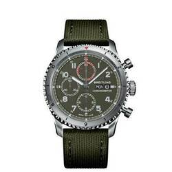Breitling Aviator 8 Chronograph 43 Curtiss Warhawk Stainless Steel With Green Fabric Automatic Mens Watch A133161A1