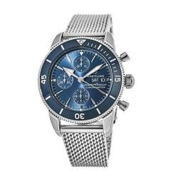 Breitling A13313161C1A1 Superocean Heritage II Blue Dial Mens Stainless Steel Mesh Chronograph Watch